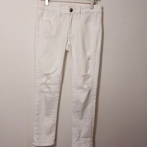 American Eagle | White Distressed Jegging Crop 4